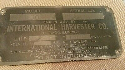 Vintage  Tin Emblem Nameplate International Harvester W-30