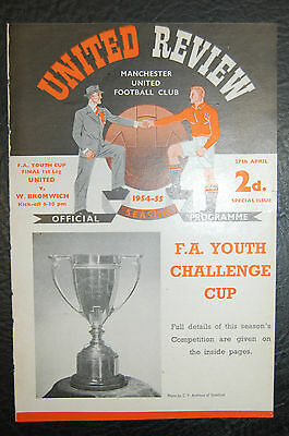 Manchester United V  West Bromwich Albion 1955 Fa Youth Cup Final Programme