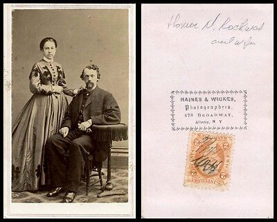 1860s CDV PHOTO PORTRAIT OF YOUNG COUPLE & ALBANY, N.Y. STUDIO