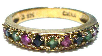 Sterling Silver 14K Gold Overlay Stackable Sapphire Ruby Emerald Ring Band