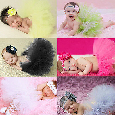 Newborn Infant Baby Girls Tutu Skirt Costume Photography Prop Outfit W/ Headband