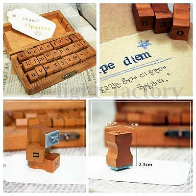 30pcs Retro Vintage Craft Wooden Box Alphabet Lowercase Letter Rubber Stamp Set