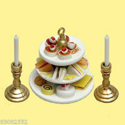 Miniature -- 3 TIERED CAKE TRAY 2 CANDLESTICKS 1:12 doll houses,craft projects