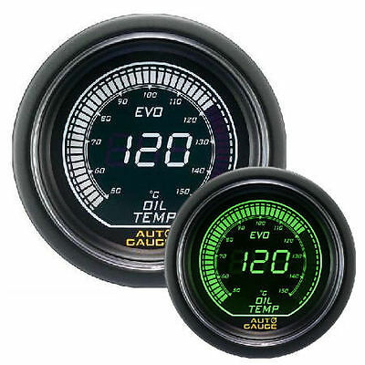AUTO GAUGE EVO 52 mm Green / White Digital Oil Temperature Gauge with sensor