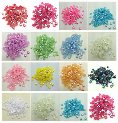 NEW 8MM 10MM 12MM DIY Heart-Shaped Pearl Bead Flat Back Scrapbook For Crafts