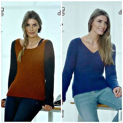 KNITTING PATTERN Ladies 2 Colour Round Neck & V-neck Jumper DK King Cole 4103