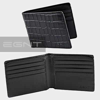 EGNT Crocodile Leather GENUINE WALLET BIFOLD CARD HOLDER MENS BLACK NEW