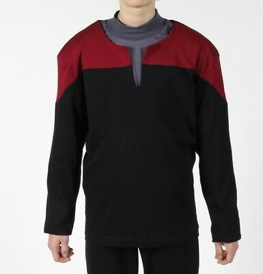 STAR TREK  Uniform Oberteil Voyager Captain Baumwolle rot - XL