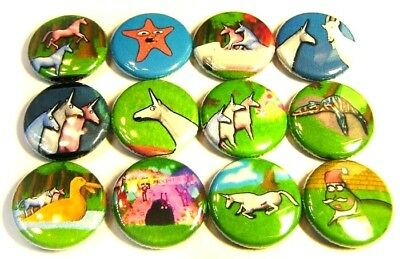 "12 CHARLIE The UNICORN ONE in Buttons 1"" Badges Pinbacks Raver CANDY MOUNTAIN"