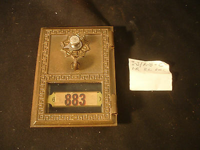 Antique Old Vtg Brass Post Office Door Mail Box Bank Front #883 With Combination