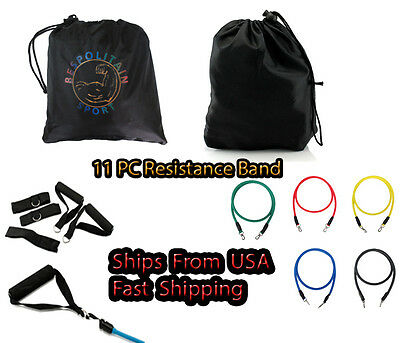 11 PIECE SET OF 5 RESISTANCE BANDS for ABS YOGA P90X FITNESS EXERCISE WORKOUT