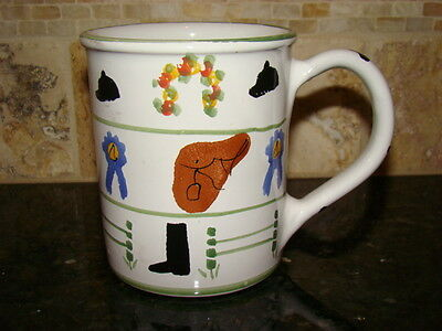 EQUESTRIAN COFFEE MUG CUP Horse Tack Saddle Boots Ribbon