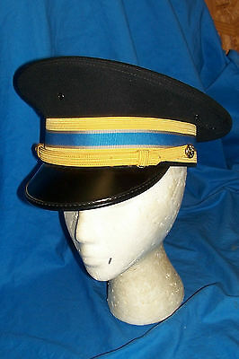 Size 7 US Army Black Dress Hat Gold Light Blue Piping Trim Men's Cap Officers
