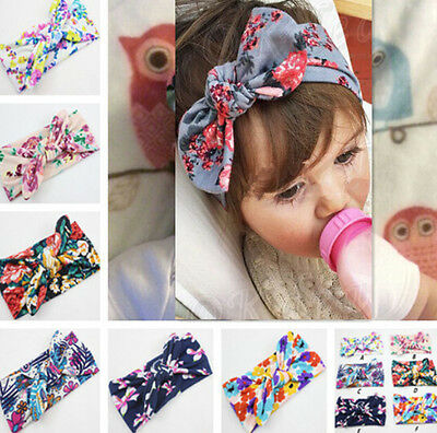 Hot Girl Infant Flower Bow Hairband Turban WO Knot Rabbit AU Headband Headwear