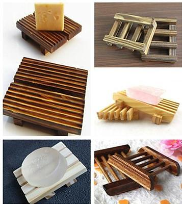 New 1pc Natural Wood Soap Tray Holder Dish Box Case Storage Shower Wash Bathroom