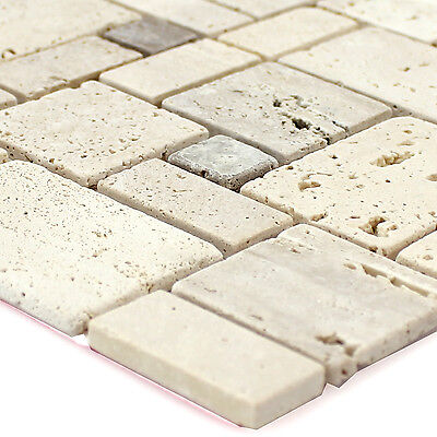 Self Adhesive Travertine Mosaic Tiles Beige