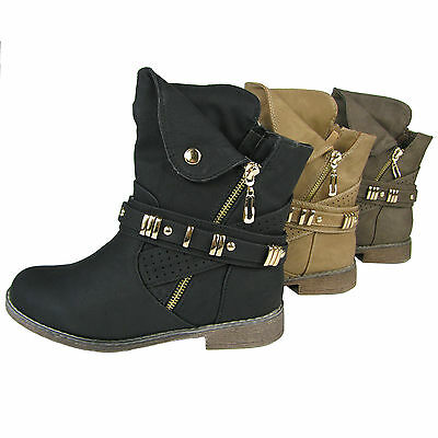 warm gef tterte damen stiefeletten biker boots flache. Black Bedroom Furniture Sets. Home Design Ideas