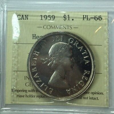 1959 Canadian Silver One Dollar Coin ICCS Graded PL-66 Heavy Cameo