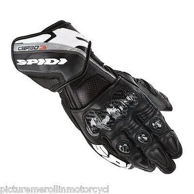 "Latest Spidi ""carbo 3"" Motorcycle Race Track Day Gloves Black White ""carbo3"""