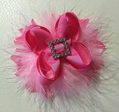 Handmade Hot Pink Stacked Boutique Hair Bows For Baby Girl / Toddlers / Girls