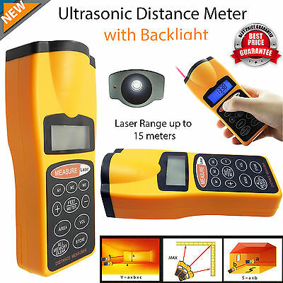 Digital Laser Distance Meter Ultrasonic Range Finder Measure Tape Diastimeter UK