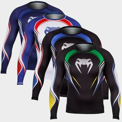 Venum Compression T-Shirt Hero Long Sleeves Rashguard schwarz blau weiß MMA BJJ