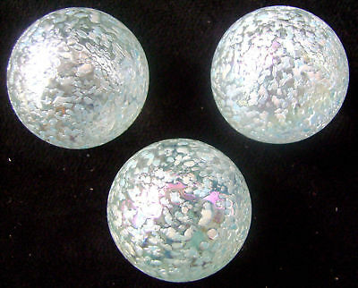 NEW 3 SNOWFLAKE 42mm STUDDED GLASS MARBLES TRADITIONAL GAME COLLECTORS HOM