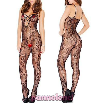 Bodystocking donna tutina catsuit pizzo ricamo lingerie intimo nuovo DL-1827