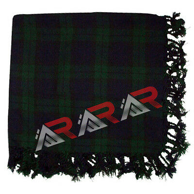 "Brand New AAR Scottish Tartan Black Watch Kilt Piper Fly Plaid 48"" x 48"""
