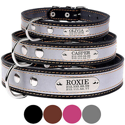 Personalized Leather Dog Collar Reflective Optional Engraved ID Tag Name Plate