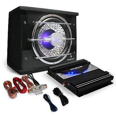 Kit Audio Auto 1400W Amplificatore Finale 2 Canali Cassa Subwoofer 25Cm Cavi Car