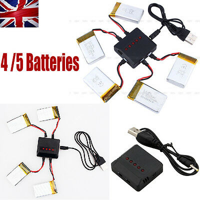 4 / 5 PCS 3.7V 720mAh Battery + USB Charger for Syma X5C X5SW X5SC RC Quadcopter