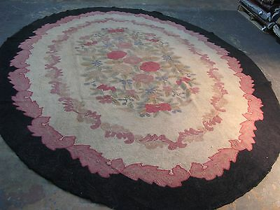 Vintage  American  Hand Made Hooked Rug Wool 9'-3 x 11'-9 Oval Floral