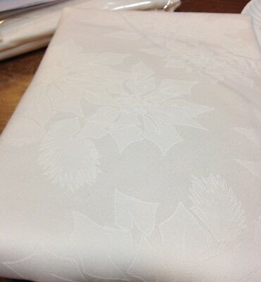 """Ivory Poinsettia Jacquard Damask Christmas Holiday 120"""" Spillproof Tablecloth"""