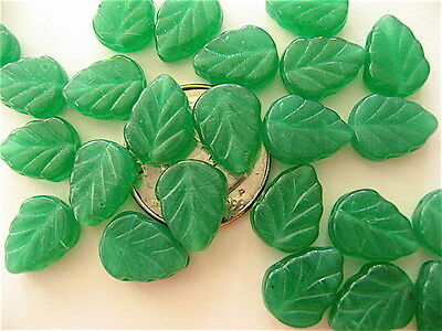 25 Milky Peridot Czech Glass Leaves 10mm x 8mm