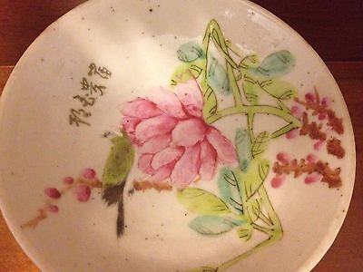 Rare 19th Century Chinese Porcelain Qing Dynasty Painted Footed Plate Signed Wow