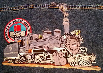 DENUM JACKET Cumbres & Toltec TRAIN  LOCOMOTIVE EMBROIDERED BACK Mens XL