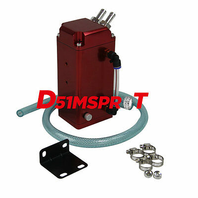 1L OIL CATCH SQUARE GREDDY-STYLE BILLET ENGINE RESERVOIR BREATHER TANK/CAN Red