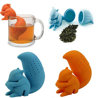 New Tea Infuser Loose Leaf Strainer Spice Silicone Cute Squirrel Filter Diffuser