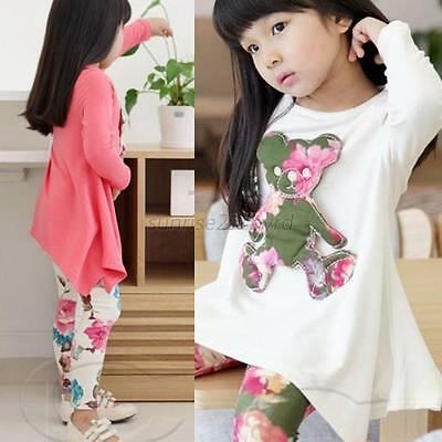 Baby Girls Cute Bear Long Sleeve T- Shirt Tops+Floral Pants Set 2-7Y Fashion