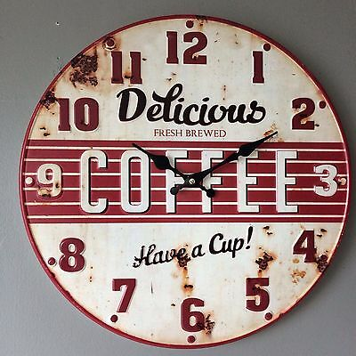 "Red & White Embossed Metal / Tin Retro Round Wall Clock ""Delicious Coffee"""
