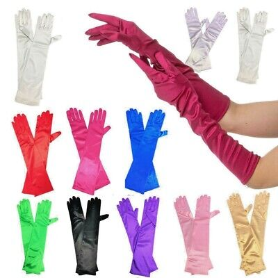 Long Gloves Deluxe Fancy Dress Princess Prom Ladies Different Colours Bright Fun