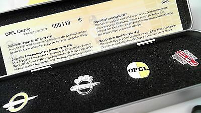 Opel Pinset History Fortschrittsglaube in Etui limited 500 Pin Badge Logo