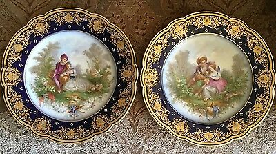 Lovely Pair of Sevres Porcelain Hand Painted Plates Courting Couples