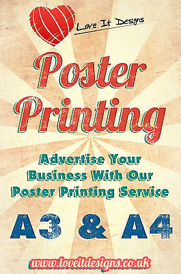 A4 & A3 Colour Poster printing. Digital Laser Printed Posters Service
