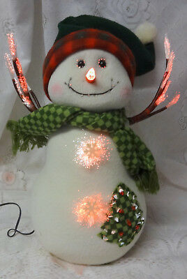 "Vintage Christmas Holiday Fiber Optic Light Snowman Decoration 16"" RARE & BEST"