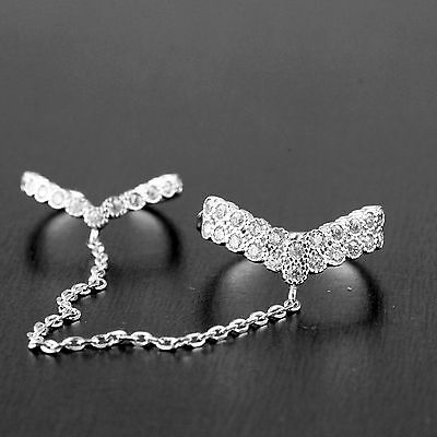 Womens Solid 925 Sterling Silver CZ Micro Pave Knuckle Chain Double Ring