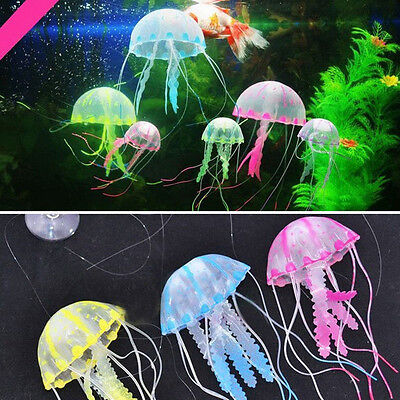 1PCs Soft Aquarium Decorative Glowing Simulation Jellyfish Fish Tank Landscape E