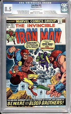 Iron Man # 55  Starlin First Thanos, Drax the Destroyer !  CGC 8.5 scarce book !