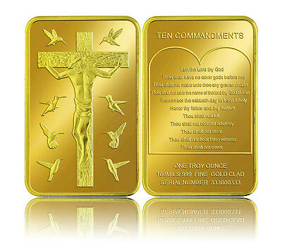 10 Commandments 24 Carat Gold Plated Coin God Christian Jesus Gold Bar (26)